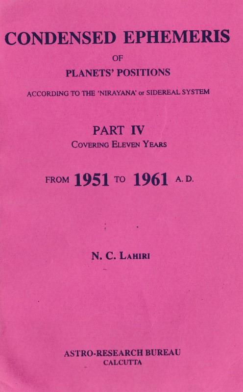 Condensed Ephemeris of Planets' Position (1951 to 1961)
